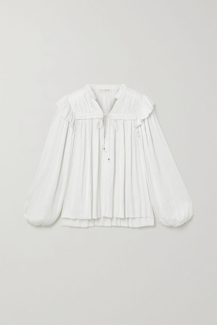 Ulla Johnson Emilda ruffled pleated satin blouse
