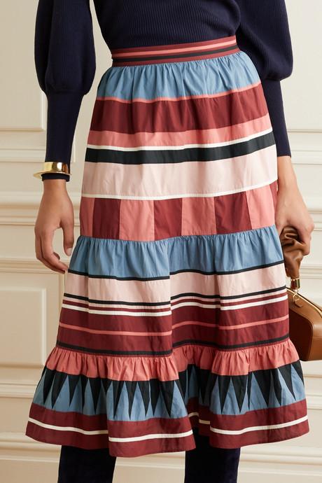 Simi tiered striped cotton-poplin midi skirt