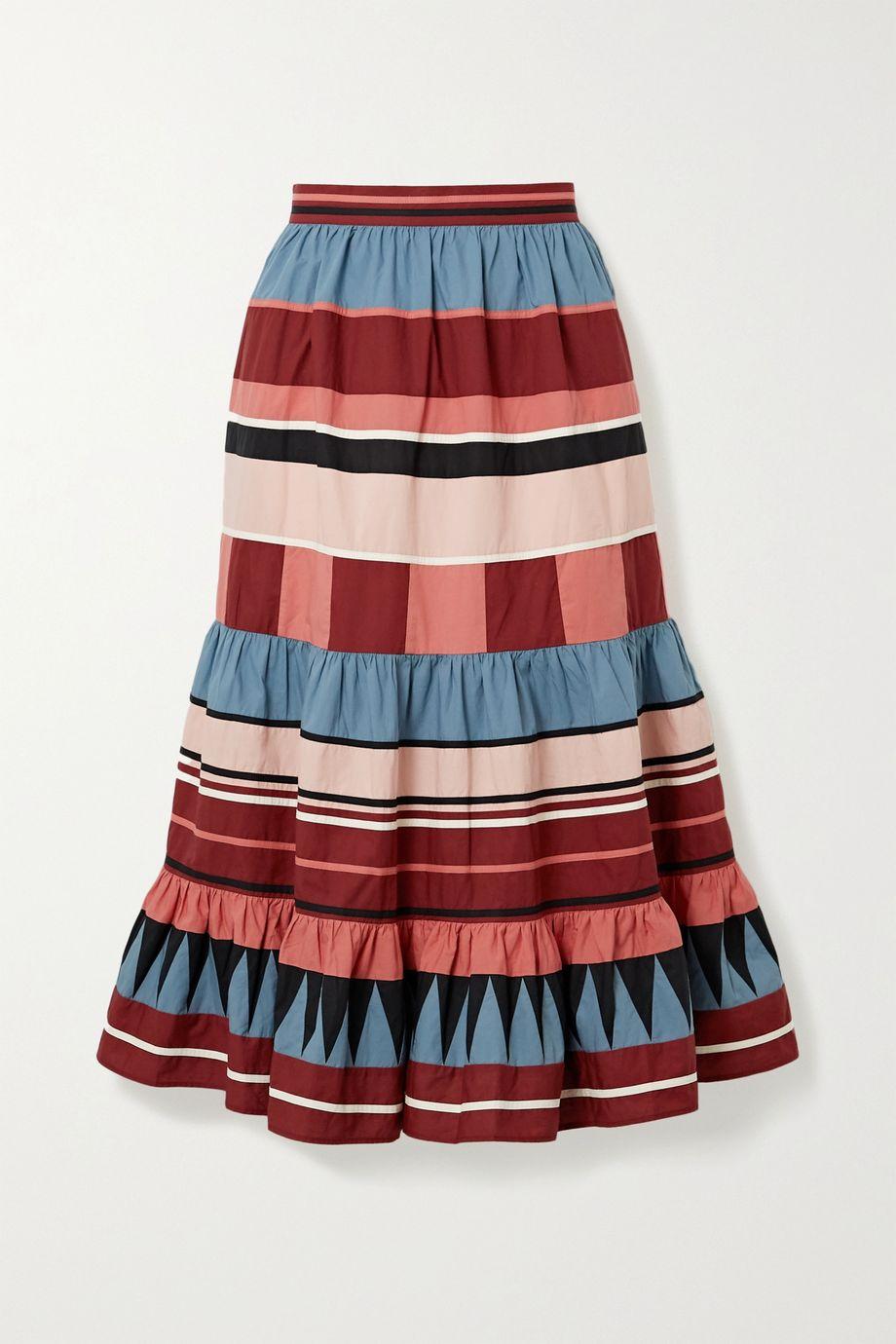 울라 존슨 시미 티어드 미디 스커트 Ulla Johnson Simi tiered striped cotton-poplin midi skirt
