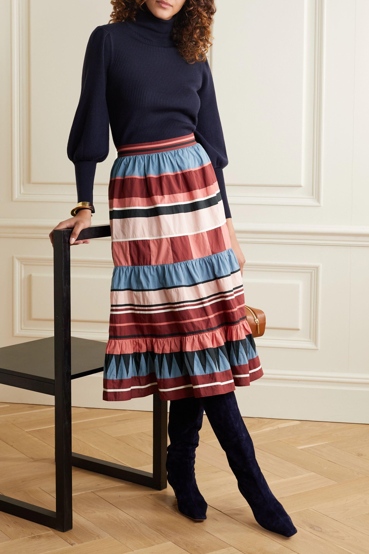 Ulla Johnson Simi tiered striped cotton-poplin midi skirt