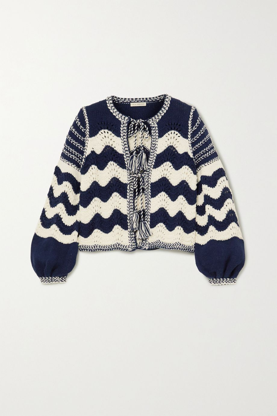 Ulla Johnson Yesenia tie-front crocheted cotton and wool-blend cardigan