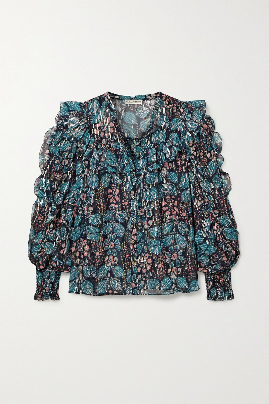 Ulla Johnson Isadora ruffled floral-print fil coupé silk and Lurex-blend georgette blouse