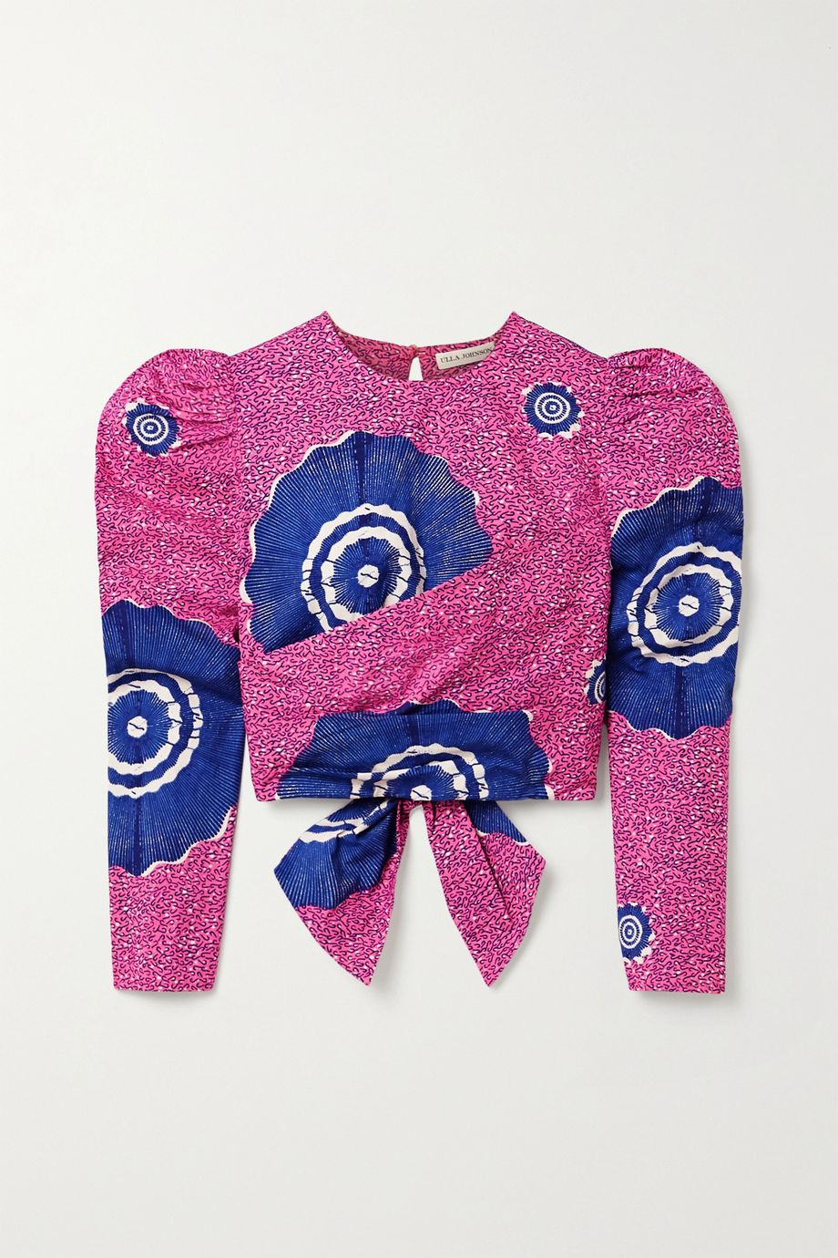 Ulla Johnson Eden wrap-effect open-back printed cotton-poplin blouse