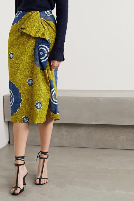 Ember wrap-effect ruffled printed cotton-poplin midi skirt