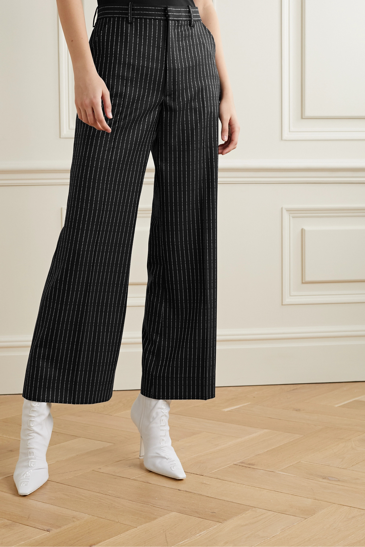 Maison Margiela Cropped wool-jacquard wide-leg pants