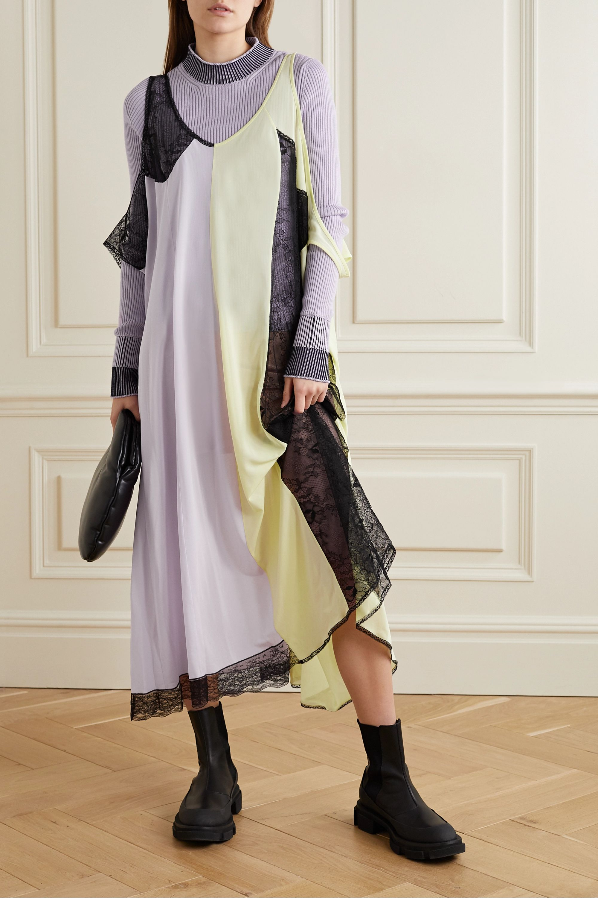 Maison Margiela Oversized lace-paneled jersey maxi dress