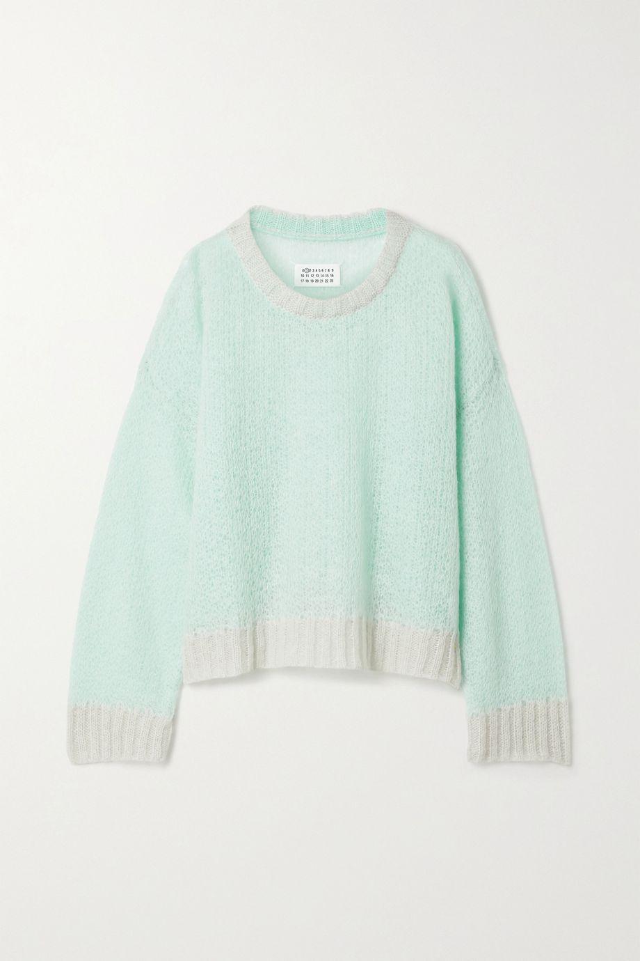 Maison Margiela Tubico oversized two-tone open-knit mohair-blend sweater