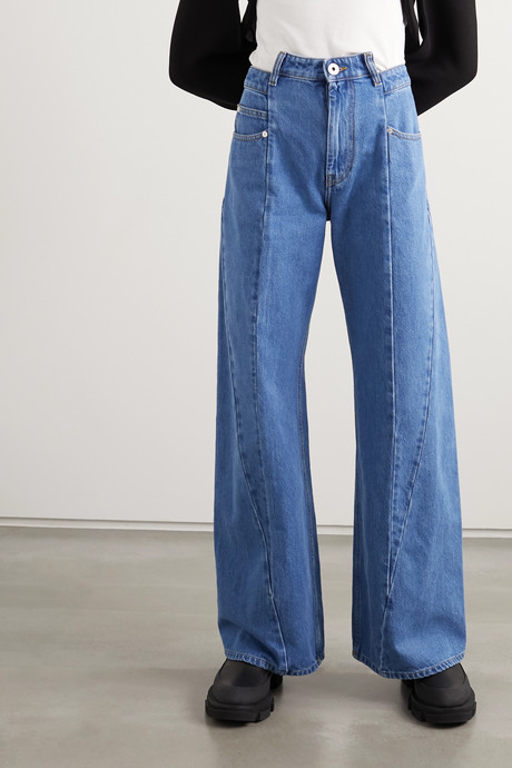 Paneled high-rise wide-leg jeans