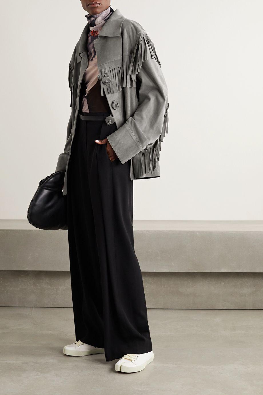 Maison Margiela 大廓形流苏绒面革外套