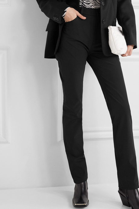 Twill slim-leg pants