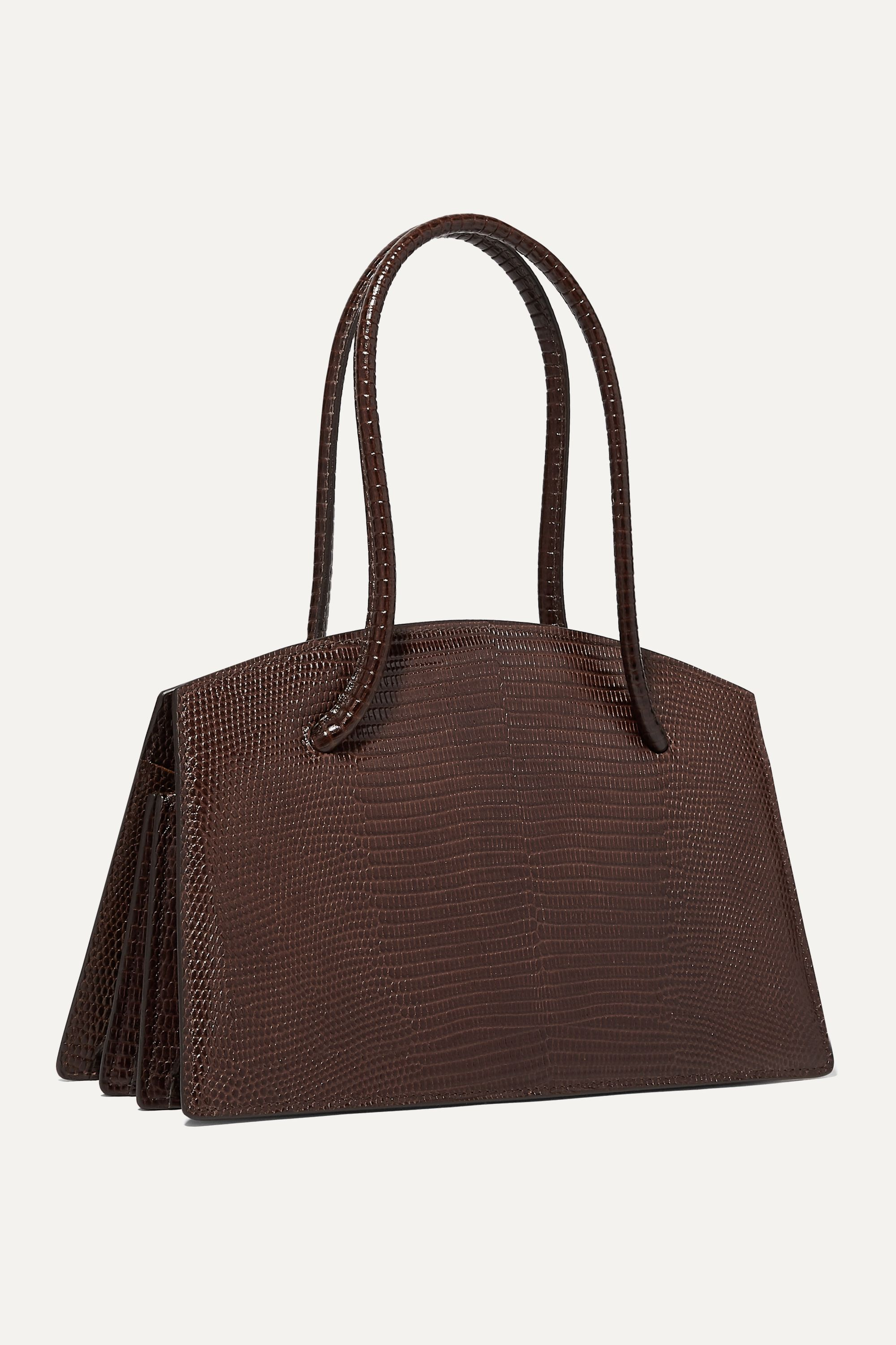 Little Liffner Faux pearl-embellished lizard-effect leather tote