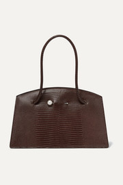 Faux pearl-embellished lizard-effect leather tote