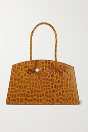 Faux pearl-embellished croc-effect leather tote