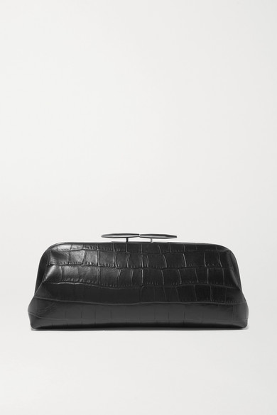 Oyster Croc Effect Leather Clutch by Little Liffner