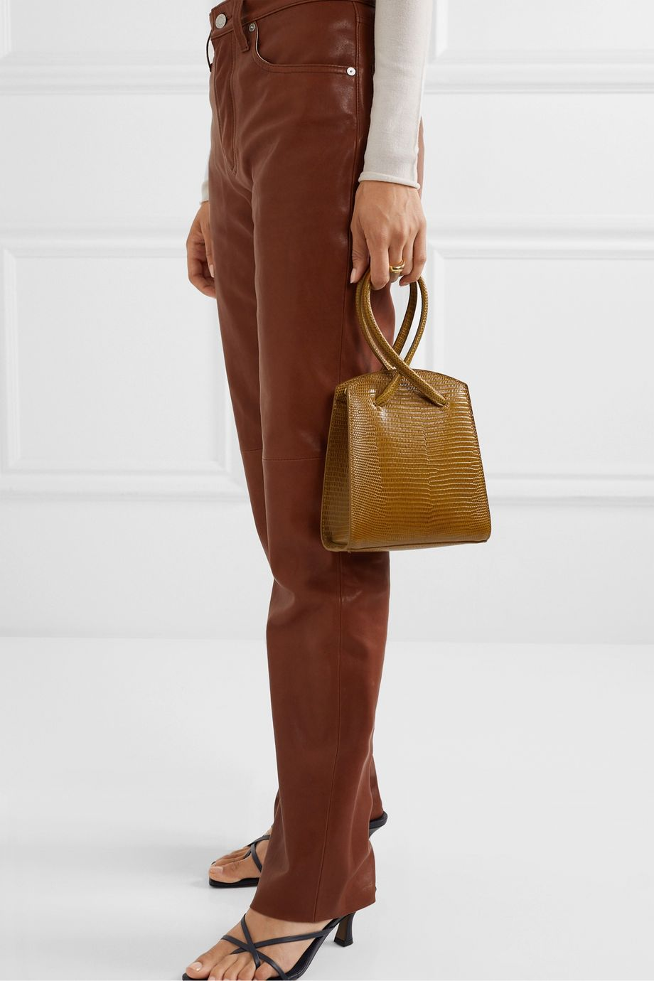 Little Liffner Twisted mini lizard-effect leather tote