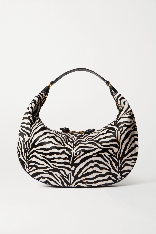 Zebra Print Sasha Textured Leather