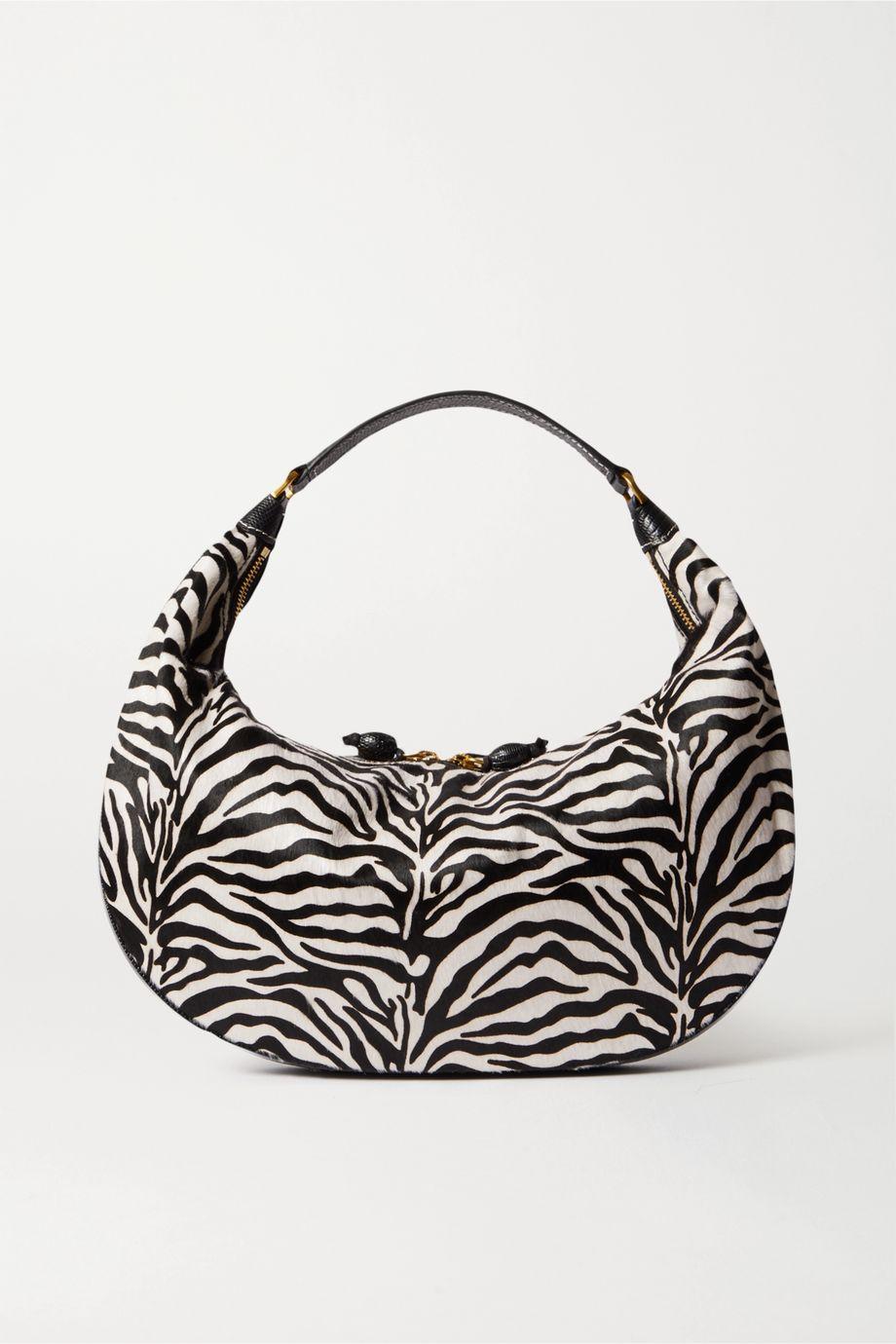 STAUD Sasha textured leather-trimmed zebra-print calf hair shoulder bag