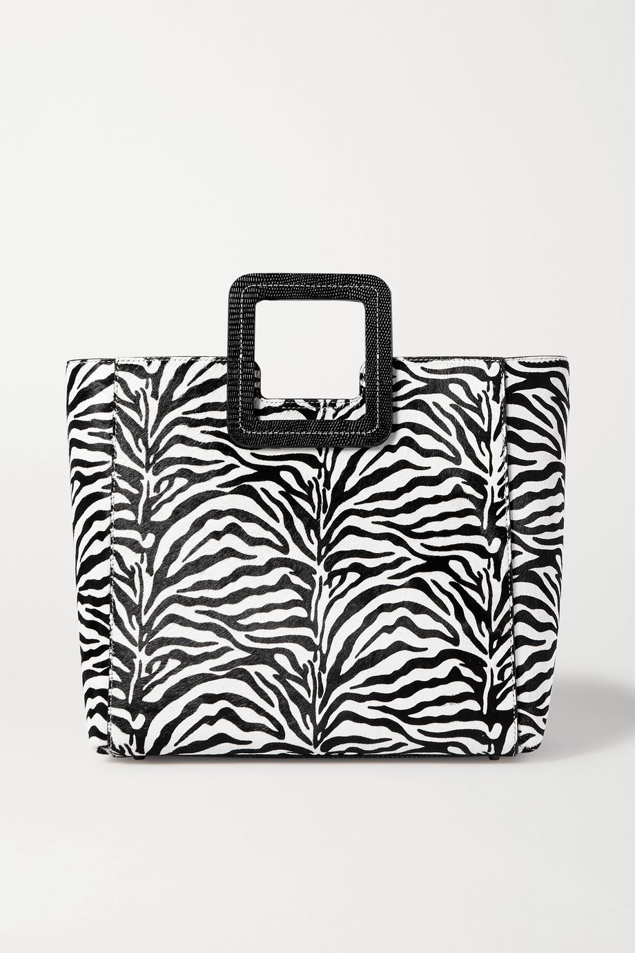 STAUD Shirley leather-trimmed zebra-print calf hair tote