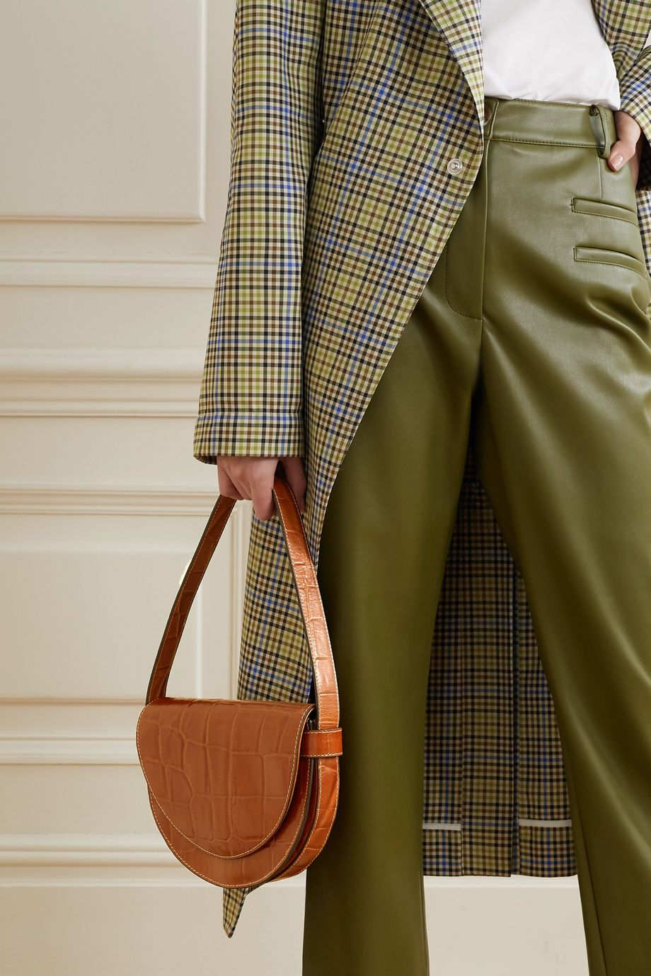 STAUD Amal croc-effect leather shoulder bag