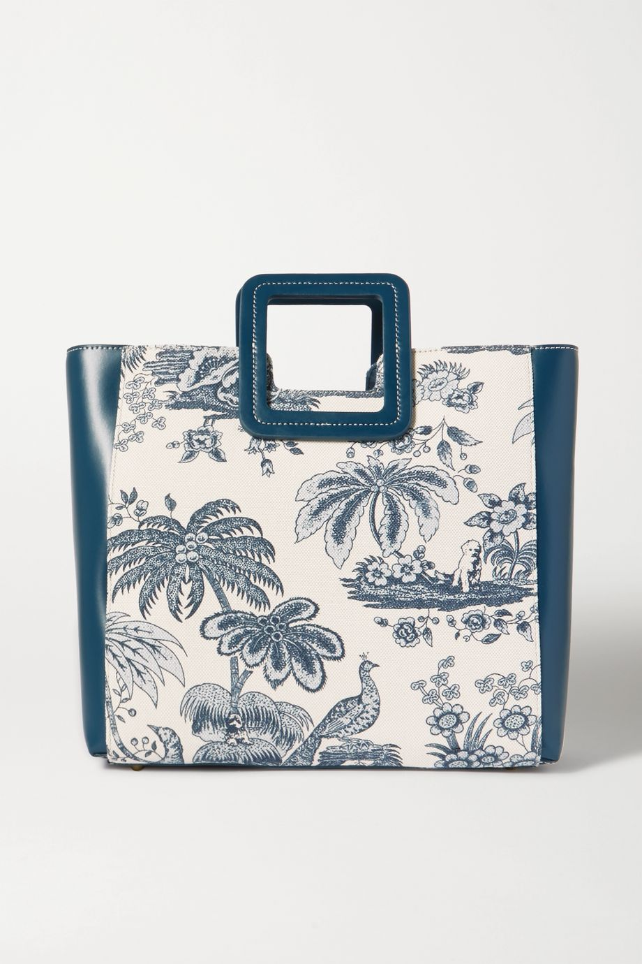 STAUD Shirley leather and printed cotton-canvas tote