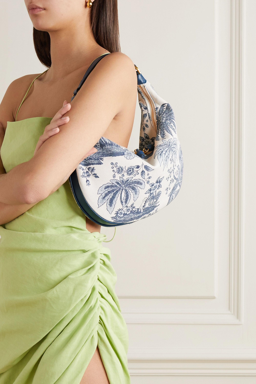 STAUD Sasha leather-trimmed printed cotton-canvas shoulder bag