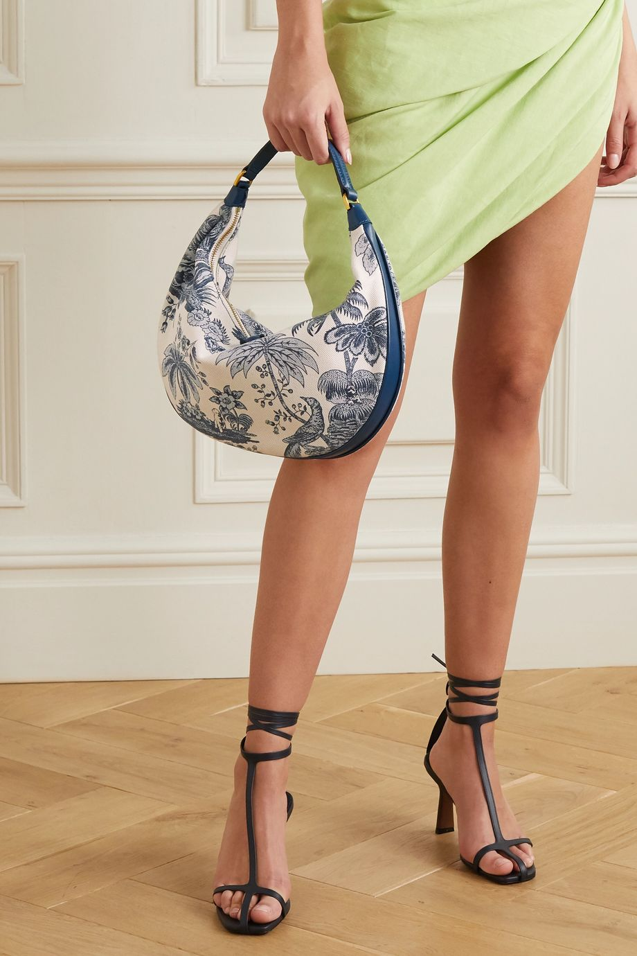 STAUD Sasha leather-trimmed printed cotton-canvas shoulder bag