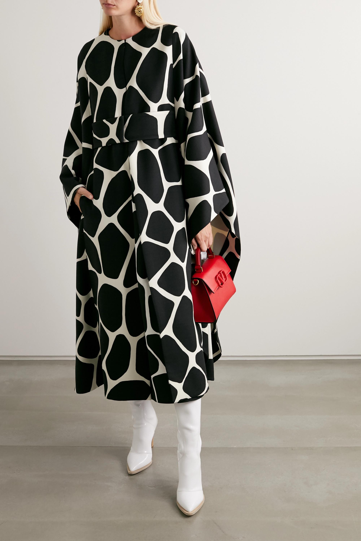 Valentino Cape en serge de laine imprimée à ceinture