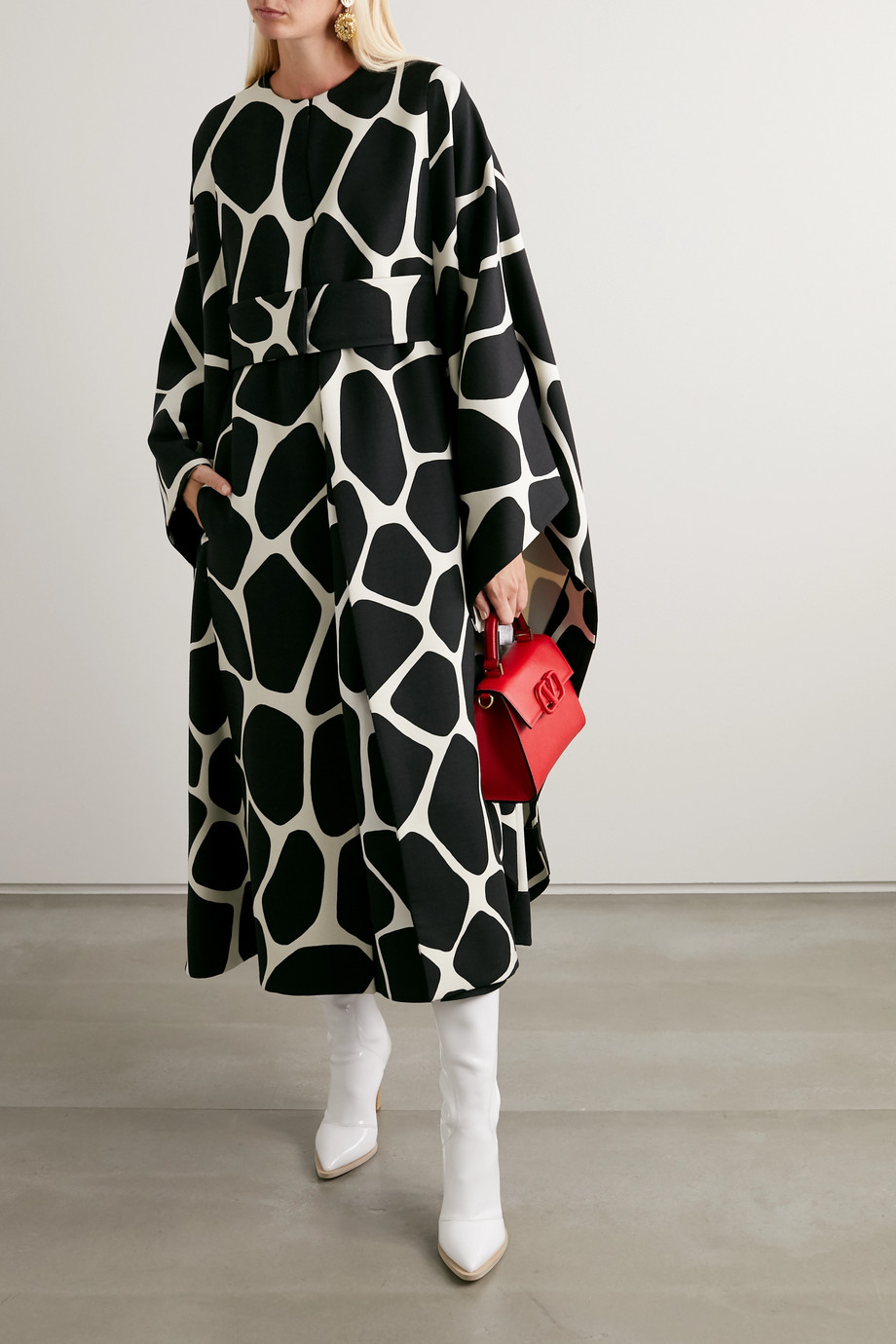 Valentino Belted printed wool-twill cape