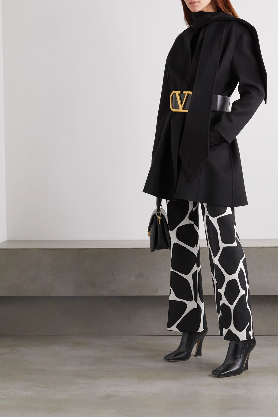 Valentino Draped wool and cashmere-blend felt coat