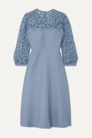 Valentino Guipure lace-trimmed wool and silk-blend crepe midi dress
