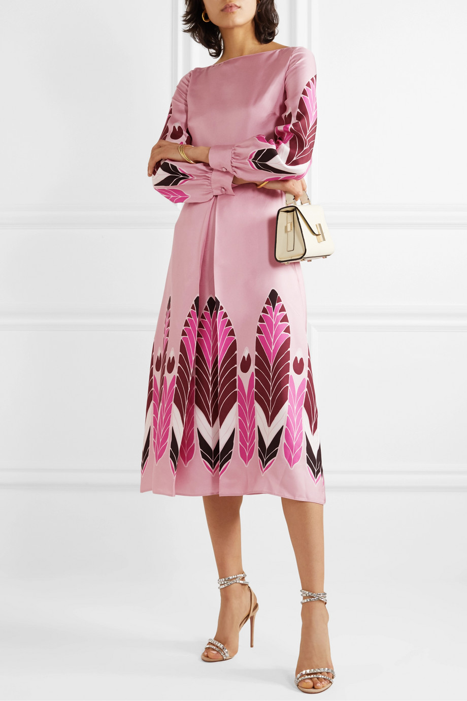 Valentino Pleated printed silk-twill midi dress