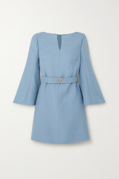 Valentino Crystal-embellished Belted Wool And Silk-blend Crepe Mini Dress In Blue