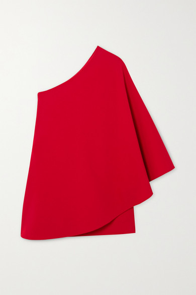Valentino One-sleeve Cape-effect Wool-blend Crepe Mini Dress In Red