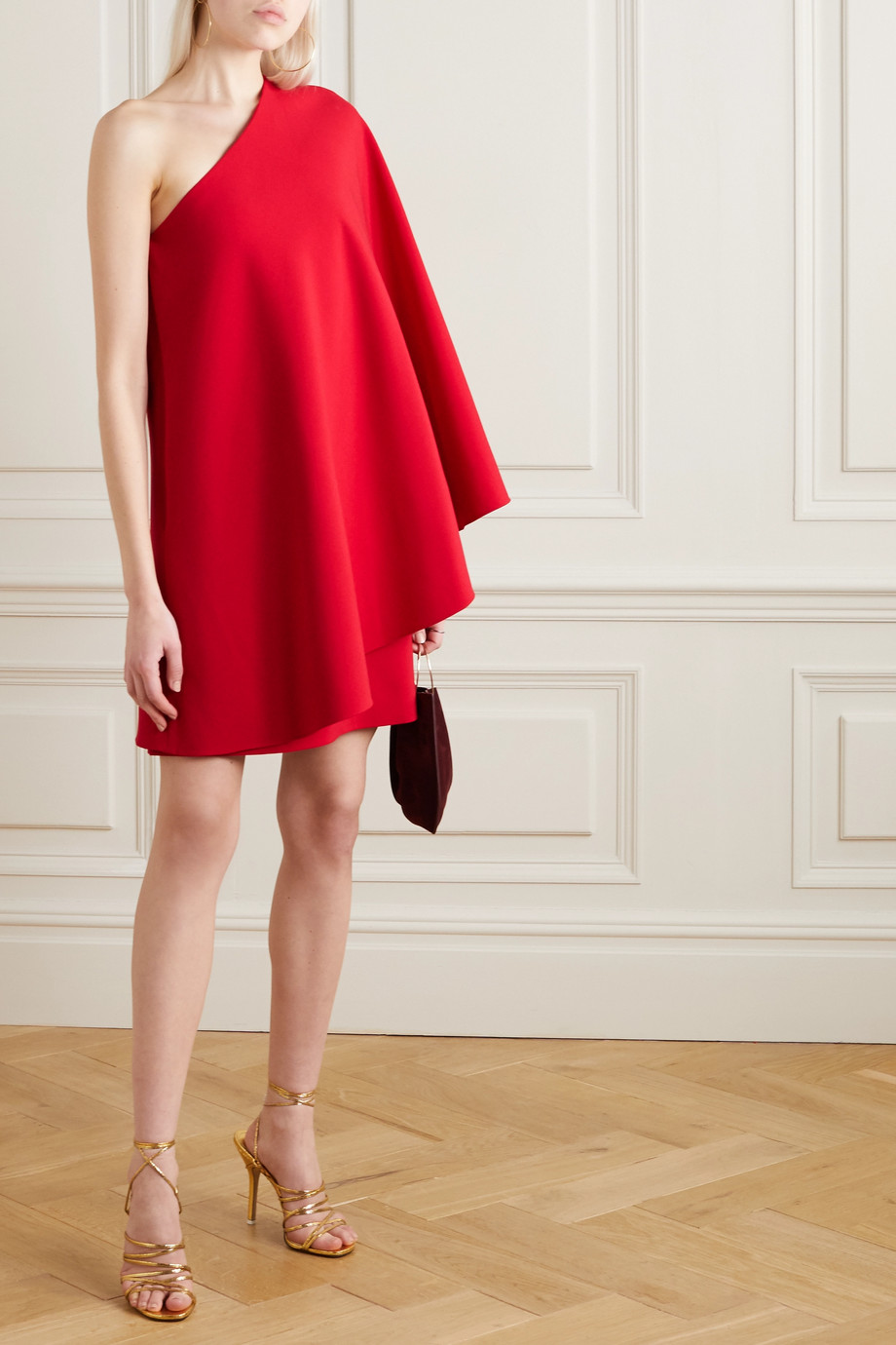 Valentino One-sleeve cape-effect wool-blend crepe mini dress