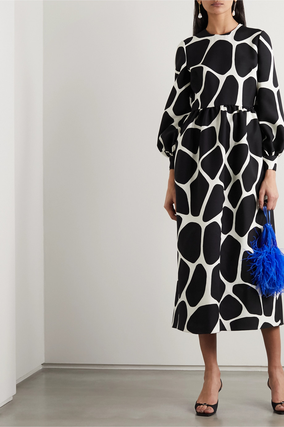 Valentino Printed wool and silk-blend crepe midi dress