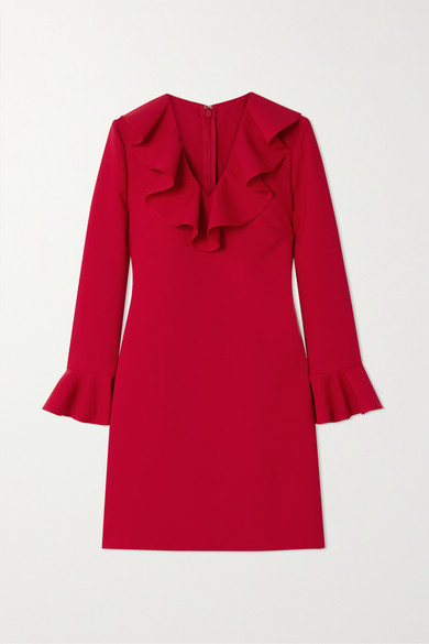 Valentino Ruffle Trim Long Sleeve Stretch Wool Minidress In Red