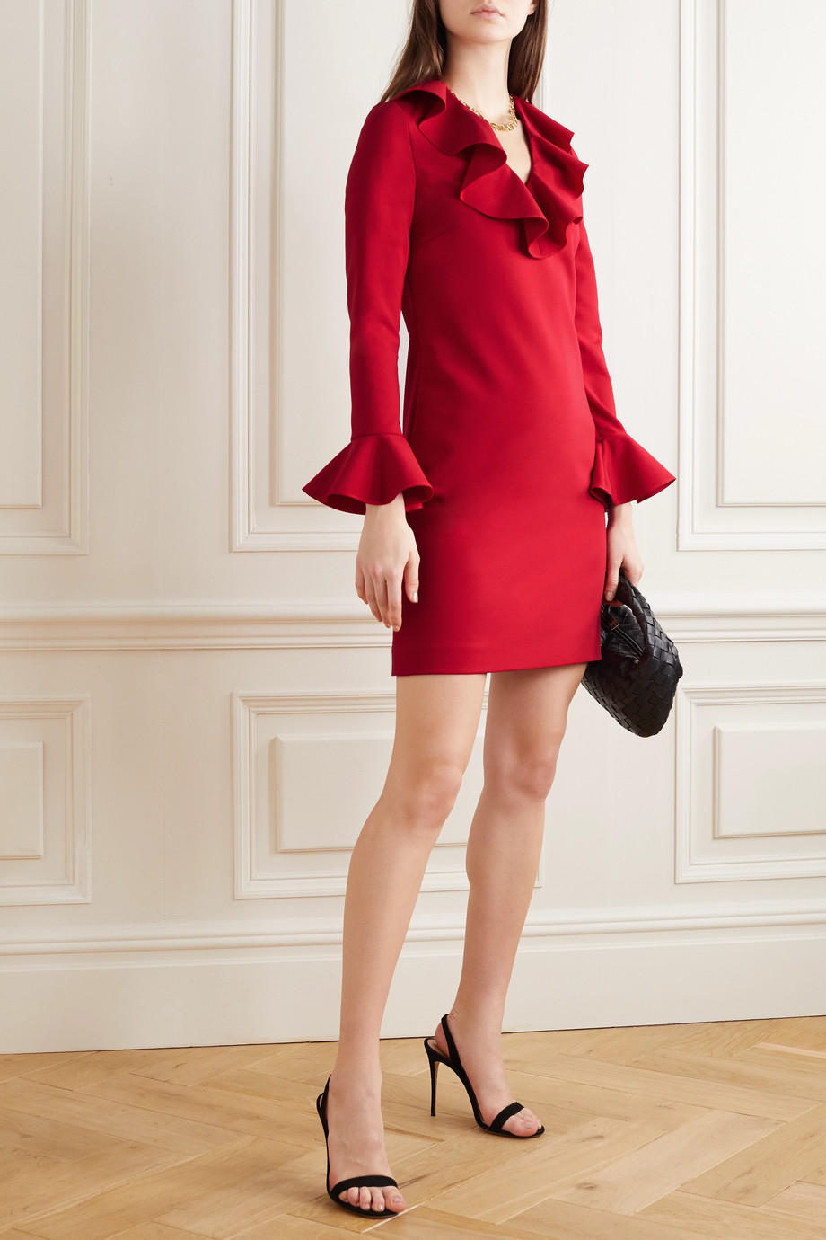 Valentino Ruffled wool-blend crepe mini dress