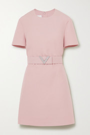 Valentino Crystal-embellished belted wool and silk-blend crepe mini dress