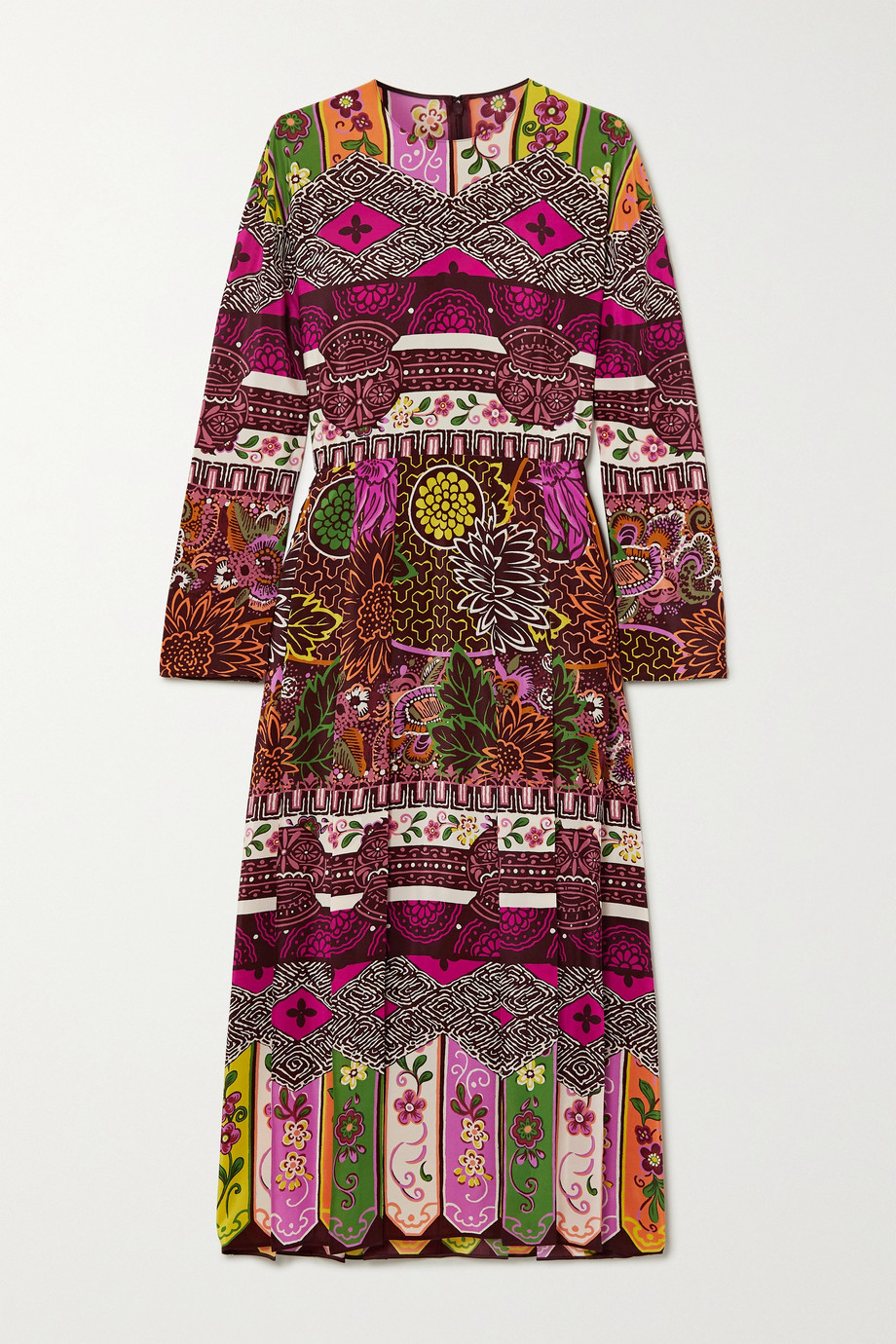 Valentino Pleated printed silk midi dress