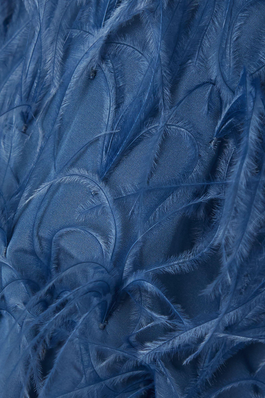 Valentino Minikleid aus Faille aus einer Baumwollmischung mit Federn