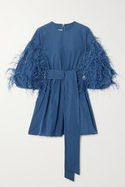 Valentino Feather-embellished cotton-blend faille mini dress