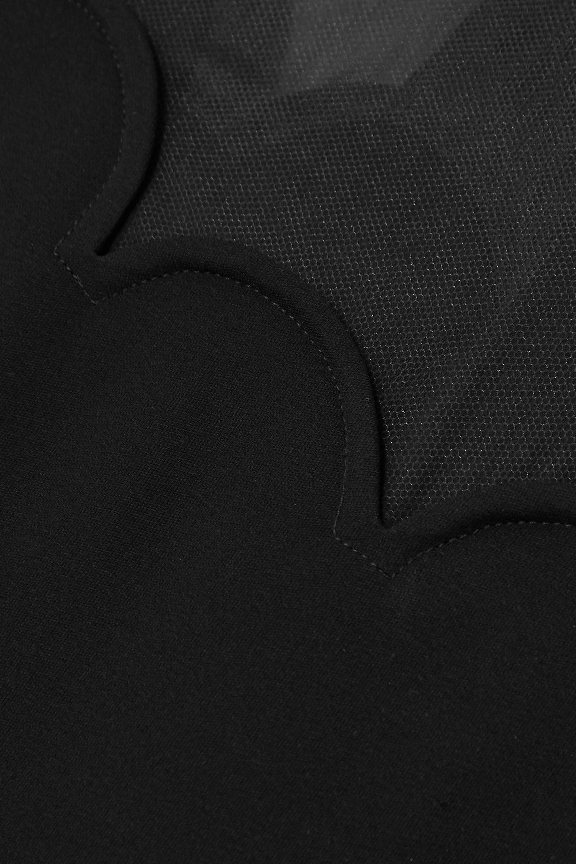 Valentino Midikleid aus Seiden-Crêpe mit Tüllbesatz und Wellenkante