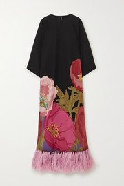 Feather-trimmed floral-print silk crepe de chine maxi dress
