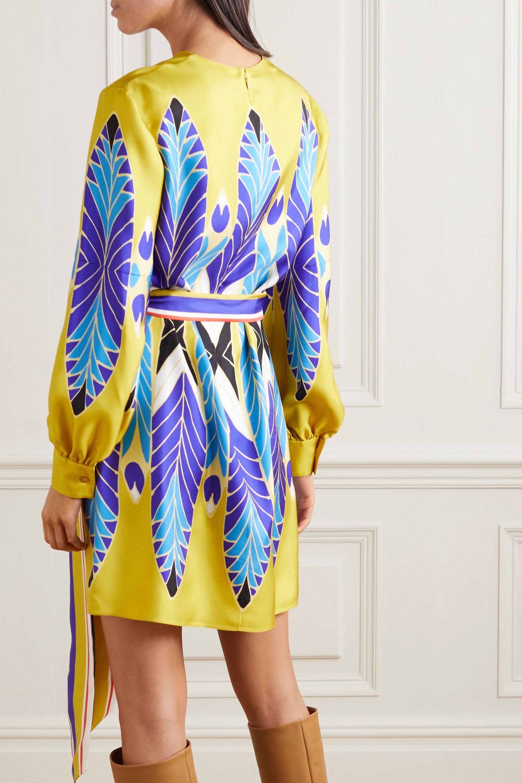 Valentino Belted printed silk-twill mini dress