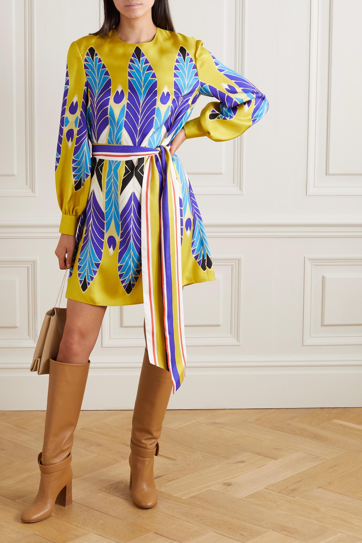 Valentino Minikleid aus Seiden-Twill mit Bindegürtel und Print