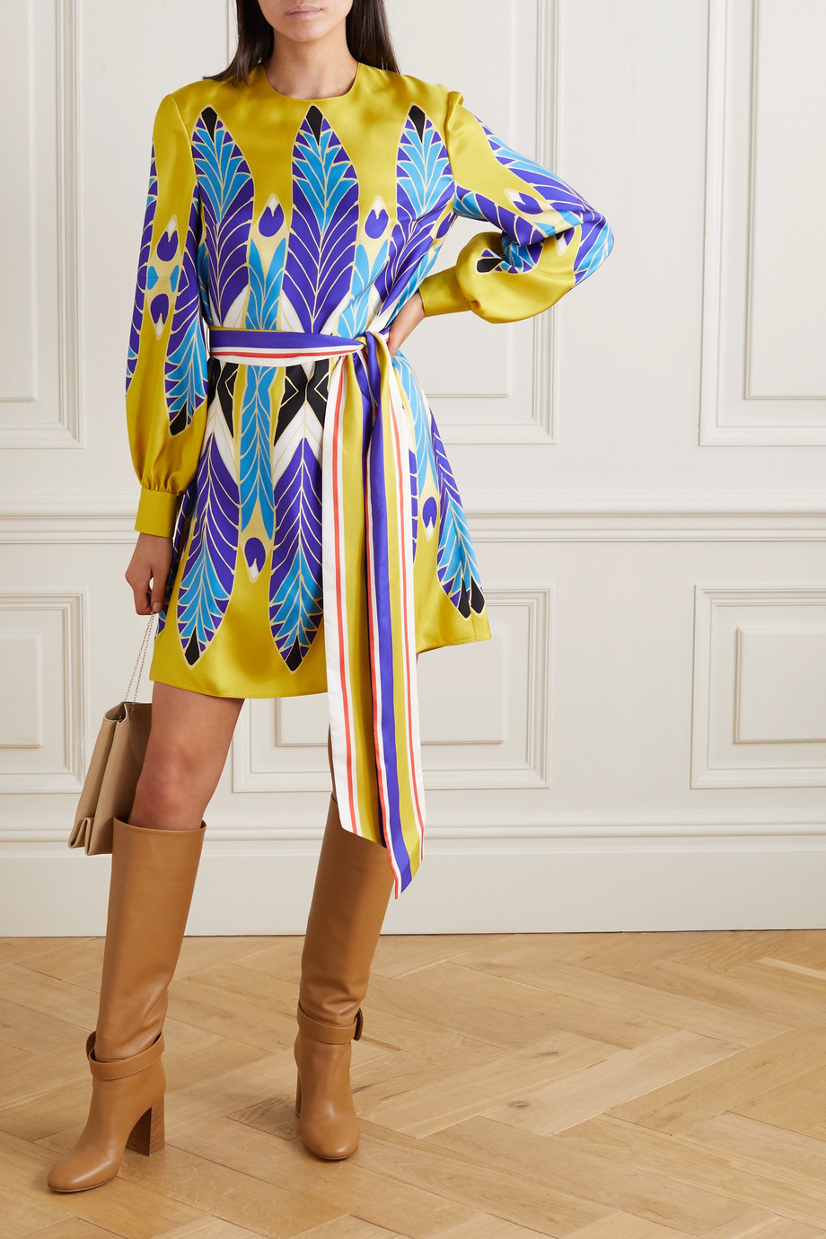 Valentino Belted printed silk-twill mini dress