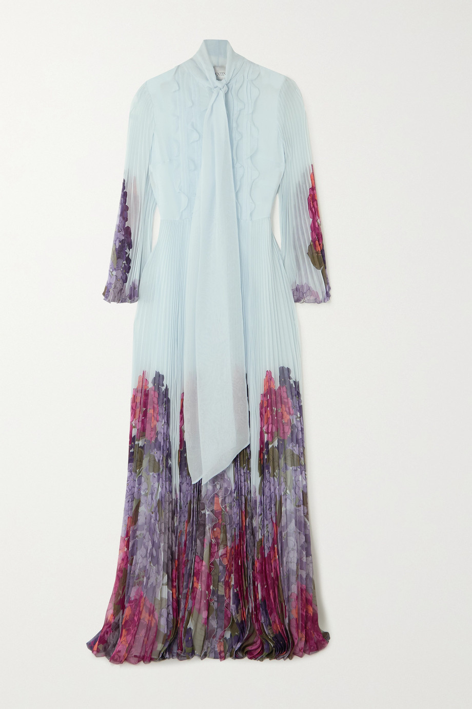 Valentino Ruffled pleated floral-print silk-chiffon gown