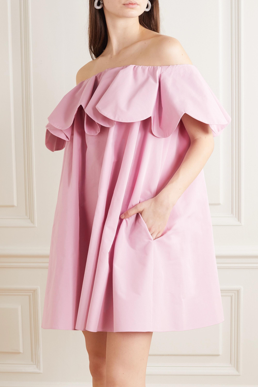 Valentino Off-the-shoulder scalloped cotton-blend poplin mini dress