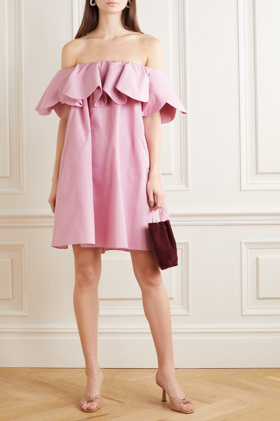 Valentino Off-the-shoulder scalloped cotton-blend poplin mini dress