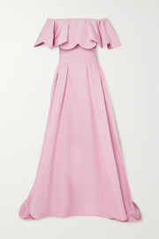 Valentino Off-the-shoulder scalloped twill gown